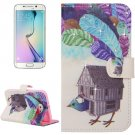 For Galaxy S6 Edge Poult Leather Case with Holder, Wallet & Card Slots