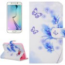 For Galaxy S6 Edge Flowers Leather Case with Holder, Wallet & Card Slots
