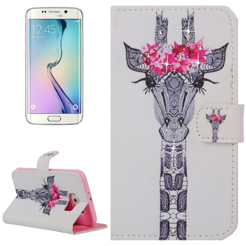 For Galaxy S6 Edge Girafe Leather Case with Holder, Wallet & Card Slots