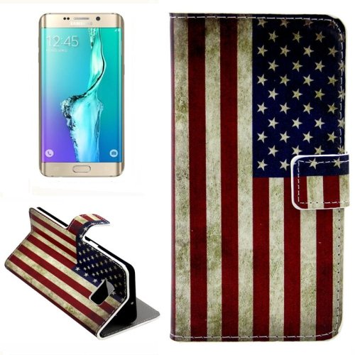 For Galaxy S6 Edge USA Flag Leather Case with Holder, Wallet & Card Slots