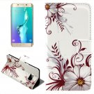 For Galaxy S6 Edge Flower Leather Case with Holder, Wallet & Card Slots