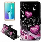 For Galaxy S6 Edge Hearts Leather Case with Holder, Wallet & Card Slots