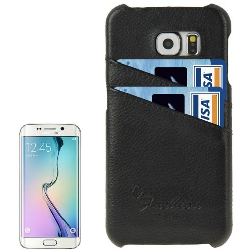 For Galaxy S6 Edge Black Genuine Leather Back Cover Case with Card Slots