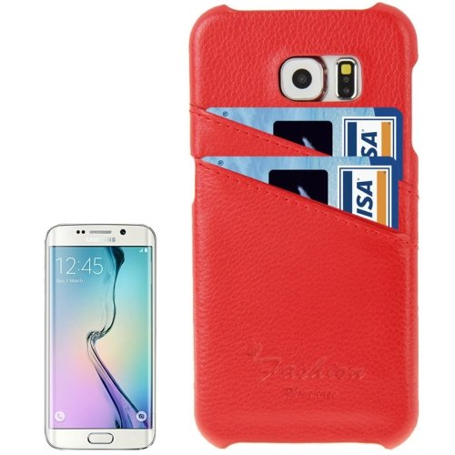 For Galaxy S6 Edge Red Genuine Leather Back Cover Case with Card Slots