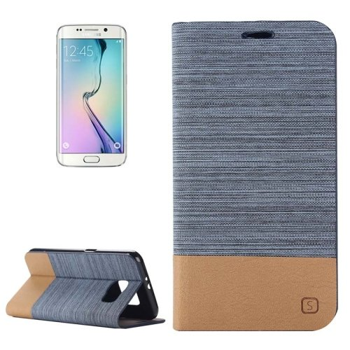For Galaxy S6 Edge Blue Canvas Flip Leather Case with Card Slot & Holder