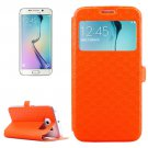 For Galaxy S6 Edge Orange Diamond Leather Case with Card Slots, Holder & Call ID