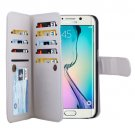 For Galaxy S6 Edge White Wallet Leather Case with 9 Card Slots & Lanyard