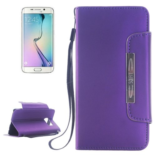 For Galaxy S6 Edge Purple Magnetic Frosted Case with Card Slots & Wallet