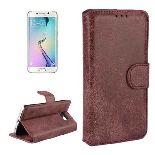 For Galaxy S6 Edge Dark red Frosted Leather Case with Card Slots & Wallet