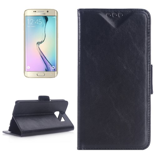 For Galaxy S6 Edge Oil Skin Black Leather Case with Holder & Card Slots