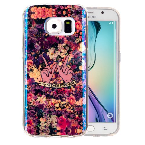 For Galaxy S6 Edge Flowers Pattern Blu-ray Soft TPU Protective Case