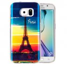 For Galaxy S6 Edge Eiffel Tower Pattern Blu-ray Soft TPU Protective Case