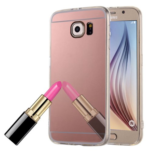 For Galaxy S6 Edge Pink Electroplating Mirror TPU Protective Case