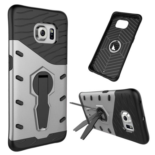For Galaxy S6 Edge Silver Tough Armor Rotating Combination Case with Holder