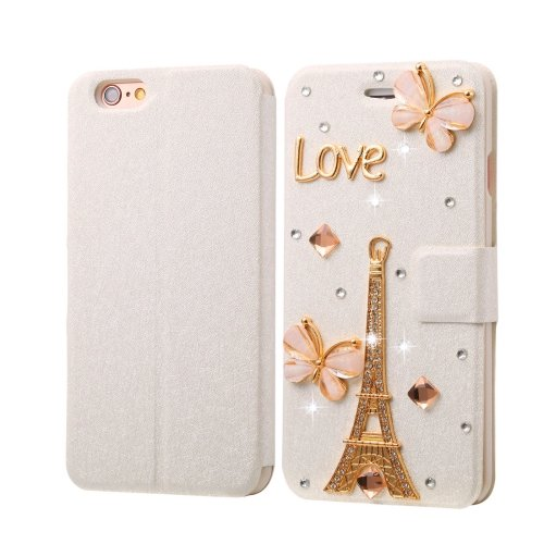 For iPhone 6/6s Diamond Tower Leather Case with Magnetic Buckle, Card Slots