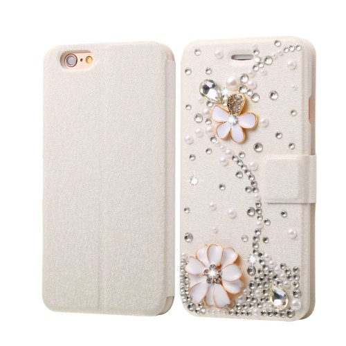For iPhone 6/6s Diamond Flower Leather Case with Magnetic Buckle, Card Slots