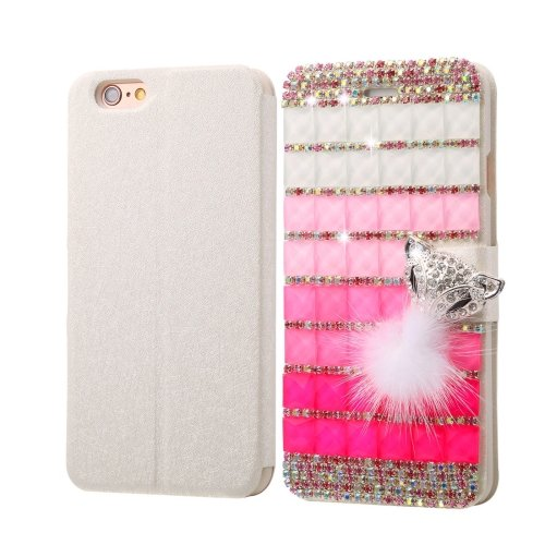 For iPhone 6/6s Diamond Fox Leather Case with Magnetic Buckle, Card Slots