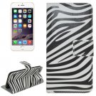 For iPhone 6/6s Zebra Magnetic Leather Case with Holder, Wallet & Card Slots