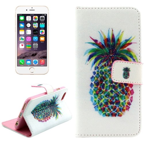 For iPhone 6/6s Cross Pineapple Leather Case with Holder, Wallet & Card Slots