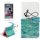 For iPhone 6/6s Cross Sea Leather Case with Holder, Wallet & Card Slots