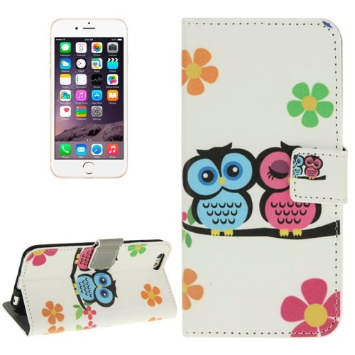 For iPhone 6/6s Two Owls Leather Case with Holder, Wallet & Card Slots
