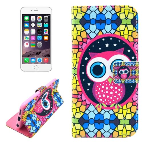For iPhone 6/6s Owl Leather Case with Holder, Wallet & Card Slots