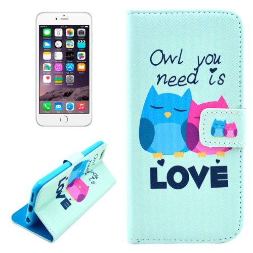 For iPhone 6/6s Owl Leather Case with Holder, Money pocket  & Card Slots