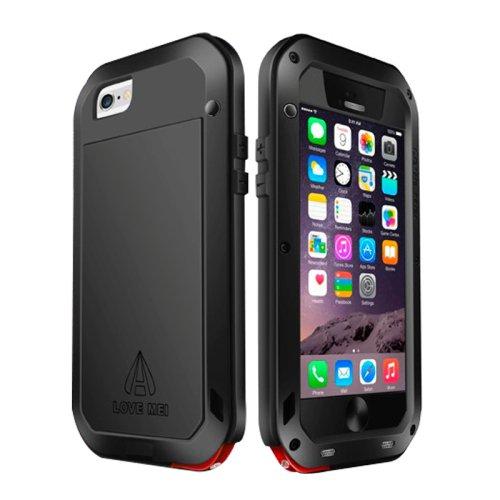 For iPhone 6/6s Love Mei Black Metal Ultra-thin Waterproof Dustproof... Case