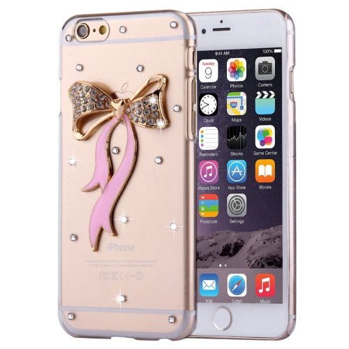 For iPhone 6/6s Fevelove Diamond Bowknot Protective Case Back Cover
