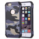 For iPhone 6/6s Dark blue Camouflage Tough Armor PC + Silicone Case