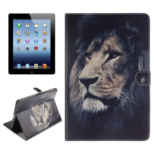 For iPad 4/3/2 Lion Pattern Leather Case with Holder, Card Slots & Wallet