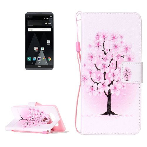 For LG V20 Blossom PU Leather Case with Holder, Card Slots & Lanyard