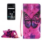 For LG V20 Butterfly PU Leather Case with Holder, Card Slots & Lanyard