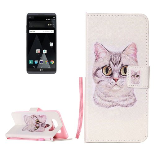 For LG V20 Lovely Cat PU Leather Case with Holder, Card Slots & Lanyard