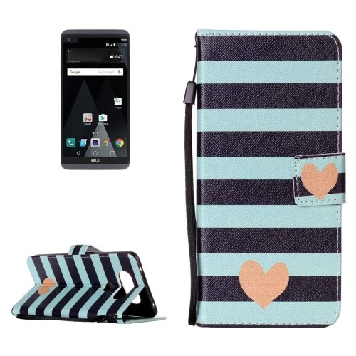 For LG V20 Heart PU Leather Case with Holder, Card Slots & Lanyard