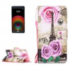 For LG X Power Rose Tower PU Leather Case with Holder, Card Slots & Lanyard