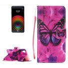 For LG X Power Butterfly PU Leather Case with Holder, Card Slots & Lanyard