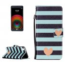 For LG X Power Heart PU Leather Case with Holder, Card Slots & Lanyard
