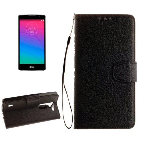 For LG Spirit Black Litchi Flip PU Leather Case with Holder, Card Slots & Wallet