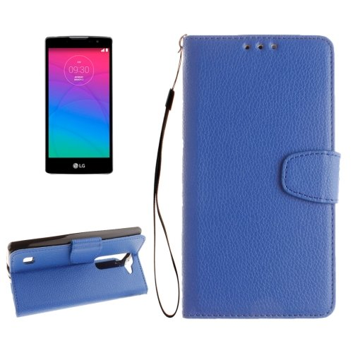 For LG Spirit Blue Litchi Flip PU Leather Case with Holder, Card Slots & Wallet