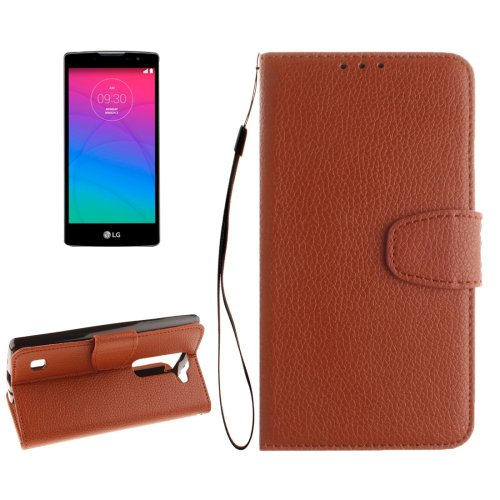 For LG Spirit Brown Litchi Flip PU Leather Case with Holder, Card Slots & Wallet