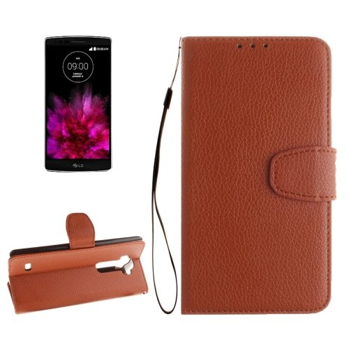 For G Flex 2 Brown Litchi Flip PU Leather Case with Holder, Card Slots & Wallet