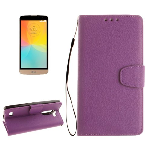 For LG L Bello Purple Litchi PU Leather Case with Holder, Card Slots & Wallet