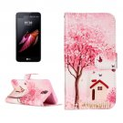 For LG X Screen Cottage Leather Case with Holder, Card Slots & Wallet