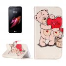 For LG X Screen Bear Leather Case with Holder, Card Slots & Wallet