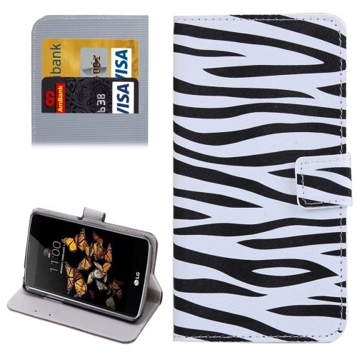 For LG K5 Zebra Leather Case with Holder, Card Slots & Wallet