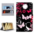 For LG K8 Butterflies Pattern Leather Case with Holder, Card Slots & Wallet