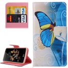 For LG K8 Blue Butterfly Pattern Leather Case with Holder, Card Slots & Wallet