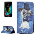 For LG K10 Dog Pattern Leather Case with Holder, Card Slots & Wallet