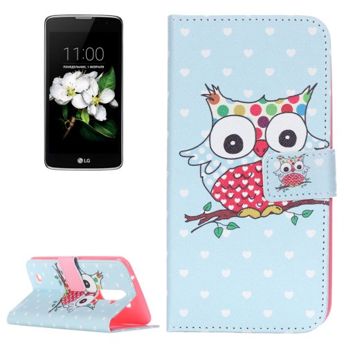 For LG K17 Coloured Owl Pattern Leather Case with Holder, Card Slots & Wallet